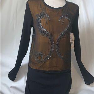Nicole Miller Brown Embellished Leather back top